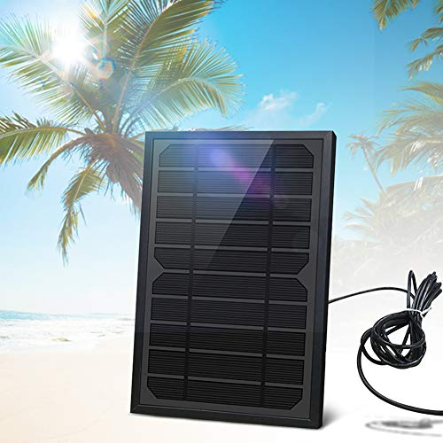 ZHENAI Monocrystalline Solar Panel 5V 1A, 5W Mini Waterproof Solar External Battery Charger with Spin Stand, Easy Installation, for Outdoor Security Camera Charger Battery