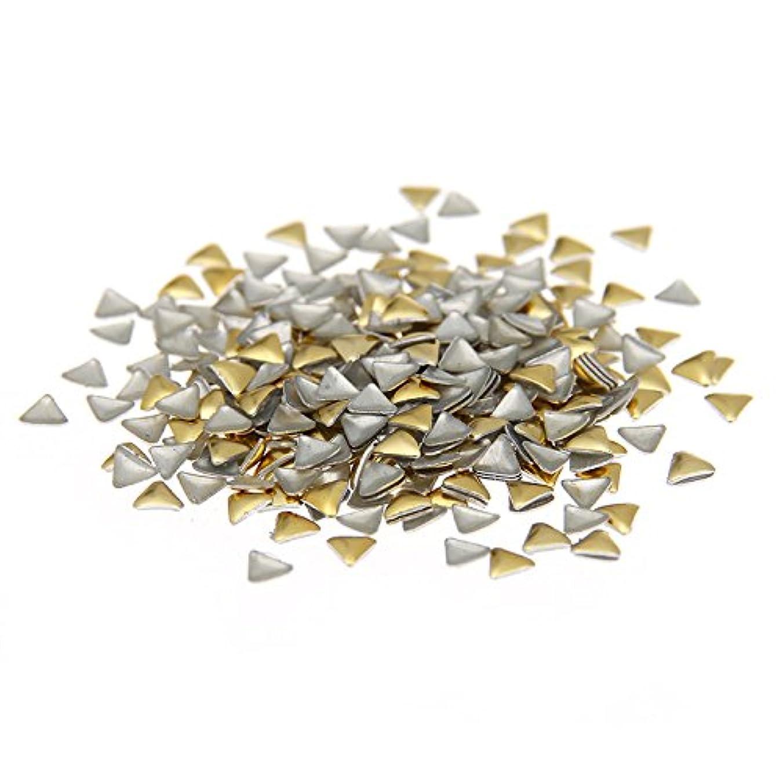 嵐が丘すでに活気づける3mm ゴールデン/シルバー ネイルアート装飾のための三角形 メタルステッカー (3mm 2000pcs, ゴールド)