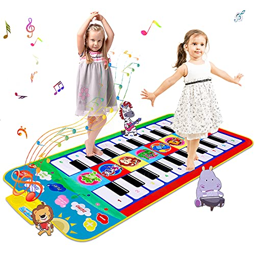 m zimoon Tappetino Pianoforte, Tappetino per Doppia Musica per Bambini Tappetino da Ballo Colorato Tastiera per Cartone Animato, Giocattoli Educativi per Bambini dai 3 Anni in su
