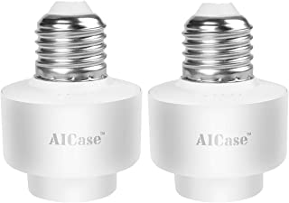 Smart WiFi E27/E26 Light Socket, AICase [2 Pack]Intelligent WLAN Home Remote Control Light Lamp Bulb Holder Compatible with Alexa and Google Home-White