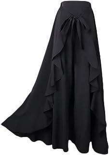 21e96c331f87 Donna Gonna Pantalone Eleganti A Vita Alta Puro Colore Irregolare con  Volant Gonna Lunga Moda Giovane