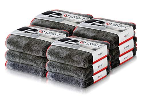 Glart 443TP - Pack de 12 paños de microfibra prémium para limpiar y pulir de 600 g/m², absorbentes y extrasuaves sin pelusas, para coches y motos, 40 x 40 cm