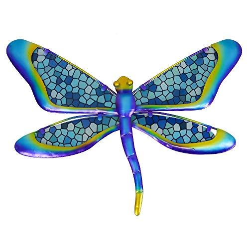 HONGLAND Metal Dragonfly Wall Decor Blue Mosaic Glass Art Sculpture Hanging...