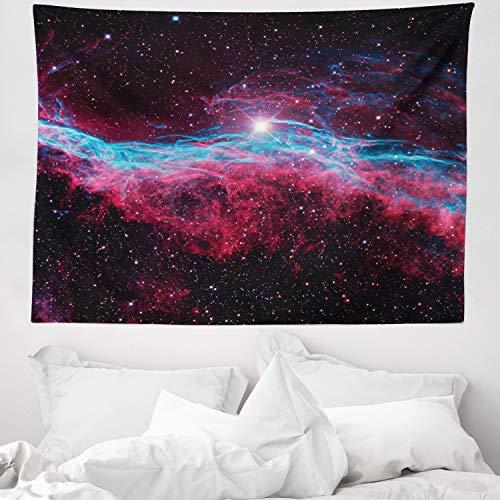 ABAKUHAUS Rosa Wandteppich & Tagesdecke, Outer Space Stars Galaxy, aus Weiches Mikrofaser Stoff Wand Dekoration Für Schlafzimmer, 150 x 110 cm, Magenta & Schwarz