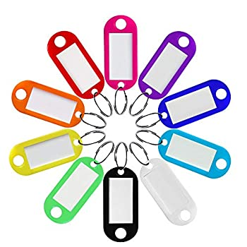 Heado 60 Pack Plastic Key Tags 10 Colors Key Labels with Split Ring and Label Window Key Ring Tags ID Label Tags for Home Office Travel Pets Storage and More  6 Pcs for Each Color