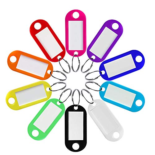 Heado 60 Pack Plastic Key Tags 10 Colors Key Labels with Split Ring and Label Window, Key Ring Tags ID Label Tags for Home, Office, Travel, Pets, Storage, and More (6 Pcs for Each Color)