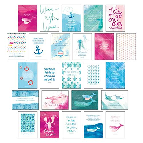 """Postkarten Set """"Sand & Sea"""" - 25 hochwertige Postkarten mit sommerlichen Motiven sowie inspirierenden und motivierenden Sprüchen & Zitaten zum ... Spruchkarten Sommer, Sonne, Strand & Meer"""