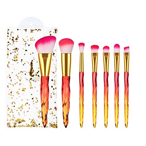 Gespout 7pcs Set de Pinceaux de Maquillage Professional Makeup Brushes Poignée Transparent Couleur Pinceaux Maquillage pour le Visage et le yeux