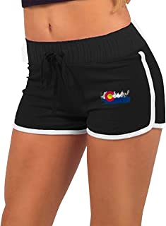 Vintage Colorado State Mountain Flag Women's Running Workout Shorts Athletic Elastic Waist Hot Pants