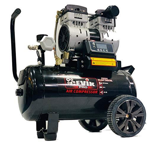 Stille compressor, 24 l, 1,5 pk, draagbaar, ideaal voor binnen en buiten en voor het opblazen, opblazen en optimaal voor het gebruik van spijkers en perslucht-nietmachines.