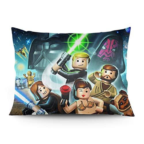 Le-go Star Wars - Funda de almohada de doble cara con cremallera oculta (tamaño estándar 50 x 60 cm)