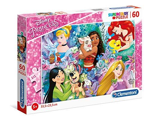 Clementoni - 26995 - Supercolor Puzzle - Disney Princess - 60 Pezzi - Made In Italy - Puzzle Bambini 5 Anni +