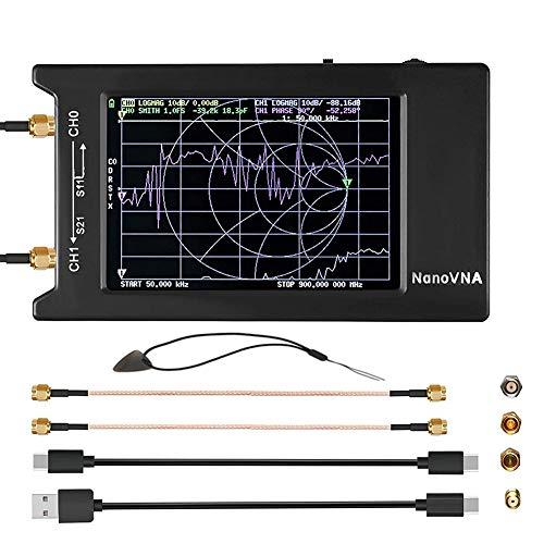 Basage Analizador de Redes Vectoriales NanoVNA-H4 10KHz-1.5GHz HF VHF UHF Analizador de Antenas de MedicióN, con Pantalla de Prensa LCD VNA