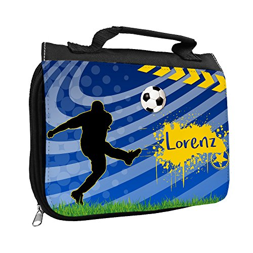 Kulturbeutel mit Namen Lorenz und Fußball-Motiv für Jungen | Kulturtasche mit Vornamen | Waschtasche für Kinder
