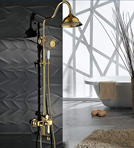 DXX-HR Atique - Grifo de ducha de latón dorado con mango interruptor de ducha de 2 manijas para montaje en pared con sistema de ducha de 8 pulgadas