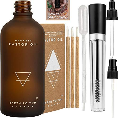ÖKO-Rizinusöl 100 ml kaltgepresst, frei von Hexan, GVO-frei, mit Mascara-Bürste -Röhre, Bambus-Eyeliner-Pinsel, Tropfpipette, Dosierpumpe, Pipette und einem ausführlichen Leitfaden zur Anwendung