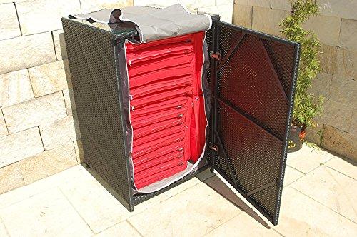 Ragnarök-Möbeldesign Polyrotan kussenbox Duits merk - eigen productie - 8 jaar garantie incl. Glasplaat voor 20 kussens zwart tuinmeubelen aluminium rotan bijzettafel statafel
