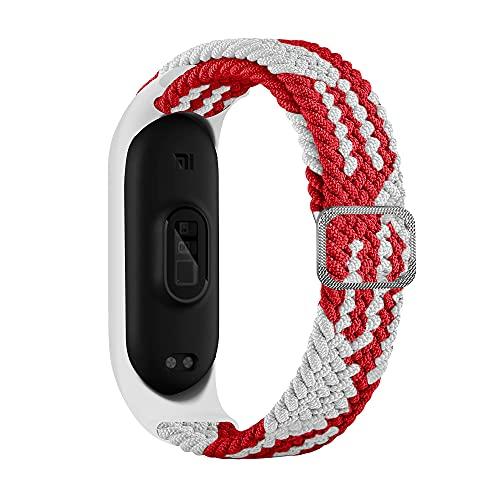 BoLuo Correa para Xiaomi Mi Band 6,Bandas De Correa Repuesto,Correas Reloj, Nylon Reloj Recambio Brazalete Correa Repuesto Strap Wristband para Xiaomi Mi Band 6 5 4 3 Accessories (blanco rojo)