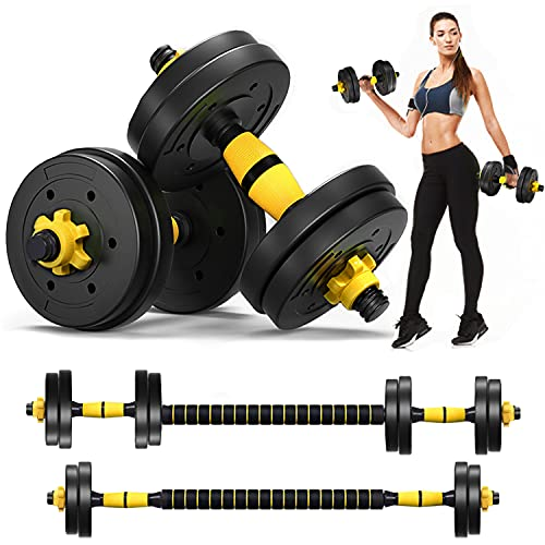 DOUBLX Weights Dumbbells Set Adjustable Dumbellsweights Set of 2, 2 in 1 Dumbells Barbell Weight Set for Home Gym, Exercise Fitness Dumbbells for Men and Women