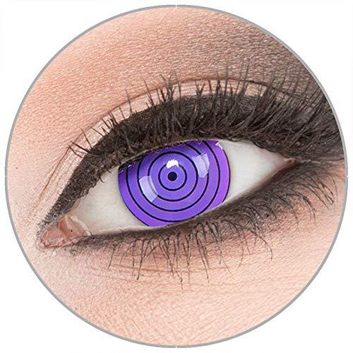 Farbige 'Violet Rinnegan' Kontaktlinsen von 'Evil Lens' zu Fasching Karneval Halloween 1 Paar violette Crazy Fun Kontaktlinsen mit Kombilösung (60ml) + Behälter in Topqualität ohne Stärke