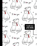CUADERNO ESCOLAR: Cuaderno de hoja cuadriculada de 4 mm | Cuadrícula 4x4 | Tamaño especial para la mochila | 100 páginas | Papel de alta calidad | Diseño de portada de gatos.