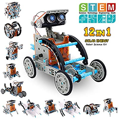 Pakoo Solar Robot Kit 12-in-1 Educational STEM Toys Solar Powered Building Toys DIY Robot Science Kit for 8-10+ Year Old Boys & Girls to Build Birthday Gifts