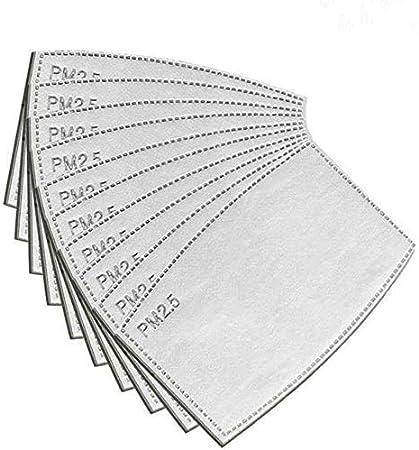90 Filtros PM2.5 reemplazables y reutilizables, filtros para mascarillas, 5 capas de filtro de carbón activado para cubrir la cara, antivaho, antipolvo, anticontaminación y protector de la salud