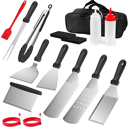 ACRIMAX Griddle Accessories Kit, Flat Top Grilling Grill Cooking Tools Spatulas Set, Stainless Steel Stainless Steel Metal Spatula Set, Scraper, Turner, Tongs, Egg Rings and More for BBQ Yard Camping