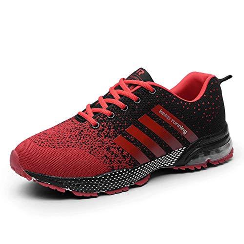 Zapatillas de Deporte Respirable para Correr Deportes Zapatos Running Hombre, Logobeing Calzado Casual de Camuflaje Calzado de Estudiante de Baja Ayuda Seguridad Deportivo Hombre (42,Rojo #2)
