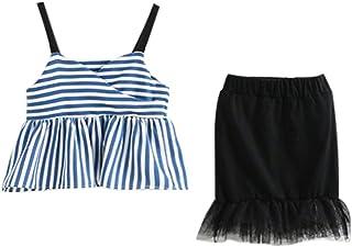 Jugendhj Babysuit 🇨🇦🇨🇦Infant Baby Girl Kid Sleeveless Striped Vest Tops+Tulle Skirt Outfits Set