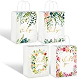 Whaline 16Pcs Floral Design Small Thank You BagsThank You Party Bags Small Paper Bags White Kraft Paper Bags Party Favor Bags for Wedding Birthday Baby Shower Party Favors 6.3 x 8.7 x 3.1inch