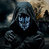 ThinkMax Máscara LED Halloween para Halloween Cosplay Festival Party, Fiesta de Musica, Mascarada (Azul)