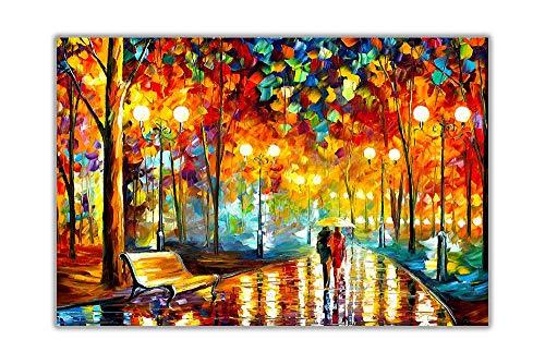 nobrand Druck auf Leinwand New Rains Rustle Canvas Bild Wandkunst Gemälde Stadt Landschaft Großformatiges Poster für Wohnzimmer Dekor 70x120cm (27,6x47,2 Zoll) Kein Rahmen