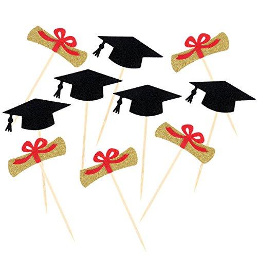 LUOEM Graduation Cake Toppers Graduation Cap Cake Picks Sign for 2018 Graduation Party Decoration Supplies 10pcs