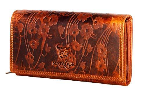 MATADOR Damen Geldbörse Leder Groß Viele Fächer Portemonnaie TüV geprüfter RFID & NFC Schutz Blumen Prägung Vintage Braun