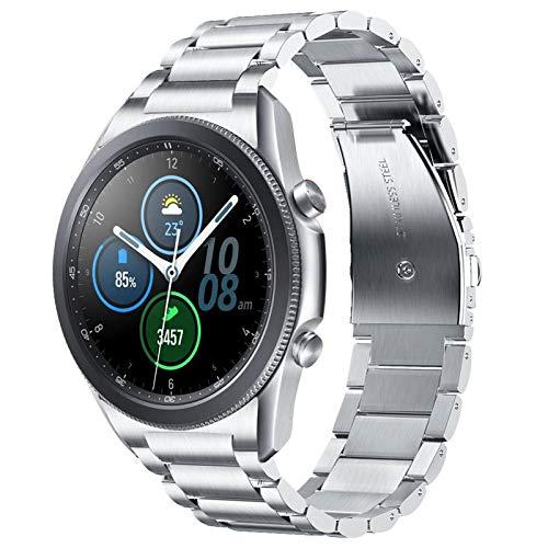 V-MORO - Cinturino compatibile con Galaxy Watch3 da 45 mm, senza spazi, 22 mm, color argento, in robusto acciaio inox