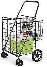 Goplus Folding Shopping Cart Jumbo Double Basket Perfect for Grocery Laundry Book Luggage Travel with Swivel Wheels Utility Cart (Black L) (Black)