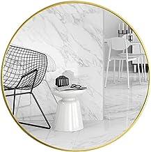 MU Lusterko ścienne duże okrągłe metalowe lustro ramowe, 23,6 cala lustro naścienne do sypialni, łazienki, salonu, wejści...