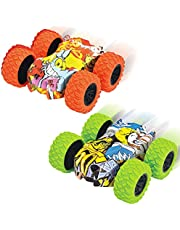 Mini Coches de Juguete, 2PCS Tire hacia Atrás los Coches, Vehículo Todoterreno 4WD Impulsado, Inertia Tire hacia Atrás del Coche Todoterreno de Carreras de Juguete con Rotación de 360 Grados Escala