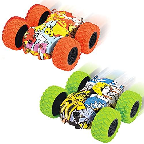 Mini Coches de Juguete, 2PCS Tire hacia Atrás los Coches, Vehículo Todoterreno 4WD Impulsado, Inertia Tire hacia Atrás del Coche Todoterreno de Carreras de Juguete con Rotación de 360 Grados E
