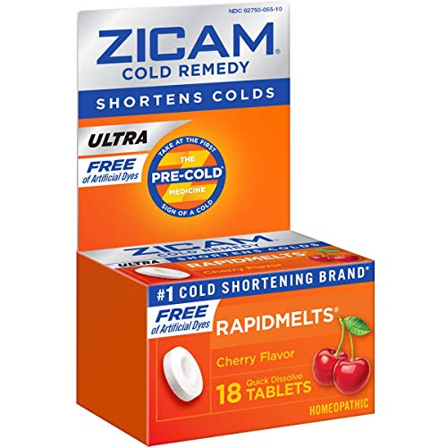Zicam Ultra Cold Remedy RapidMelts, Orange Cream Flavor Quick Dissolve Tablets, 18 Count Homeopathic Cold Remedy, Clinically Proven to Shorten Colds When Taken at The First Sign of Symptoms