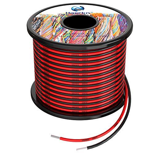 0.8mm² 18awg Fils électrique en Silicone 2x20 Mètres Cable fil de cuivre étamé multibrins Résistant à Haute Température