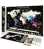 Exsusia® Mappa del Mondo da Grattare con Design Esclusivo - Cartina Mondo da Grattare + Cartina Italia da Grattare - Il Planisfero del Viaggiatore - Imperdibile Mappa del Mondo - Scratch Map World