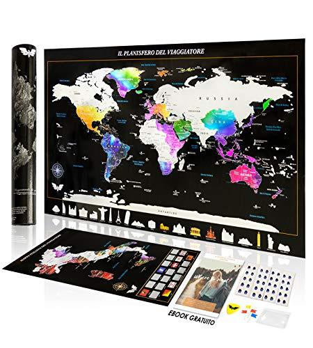 Exsusia® Mappa del Mondo da Grattare con Design Esclusivo - Mappamondo da Grattare + Cartina Geografica Italia da Grattare - Il Planisfero del Viaggiatore - Imperdibile Mappa del Mondo - Scratch Map