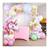 Shimmer and Confetti 16 Foot DIY Premium Pastel Rainbow Unicorn Balloon Arch and Garland Kit, Giant Unicorn, Stars, 10 Confetti, Tying Tool. Unicorn Party Supplies and Decorations for Girls Birthdays