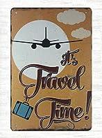 トラベルタイム飛行機です。 ブリキサインヴィンテージ鉄塗装メタルプレートノベルティ装飾クラブカフェバー。