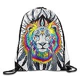 uykjuykj Bolsos De Gimnasio,Mochilas,Unisex Waterproof Drawstring Backpack For Gym School Travel Colorful Cool Lion King Feathers Art Lightweight Unique 17x14 IN