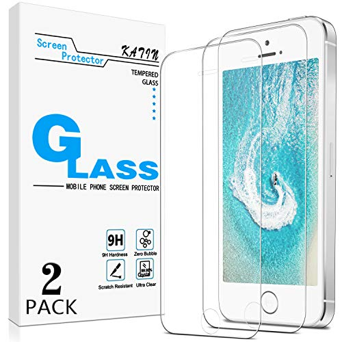 KATIN iPhone 5, SE 2016 Screen Protector - [2-Pack] Tempered Glass for Apple iPhone SE 2016, iPhone 5S, iPhone 5, iPhone 5C Bubble Free, Easy to Install