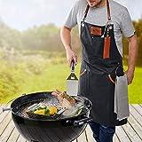 GEFU Grillschürze BBQ, Kochschürze, Küchenschürze, Baumwolle und Leder - 2