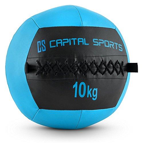 CapitalSports Wallba 10 Balón Medicinal de Cuero sintético (Peso 10 kg, Forro Exterior, Costuras resistententes, Superficie manejable, Esfera Ejercicios Gimnasia, Pelota Agarre Adecuado para Entrena